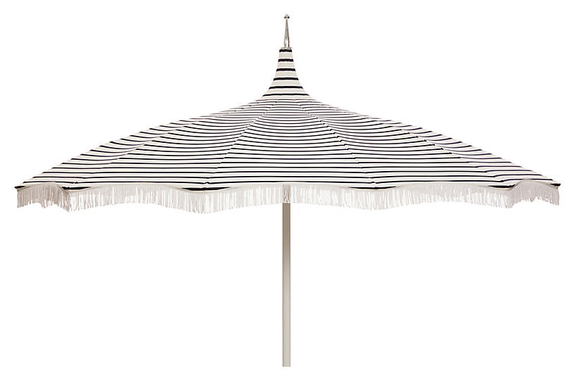 Ari Pagoda Fringe Patio Umbrella Indigo White Umbrellas