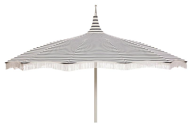 Ari Pagoda Fringe Patio Umbrella, Indigo/White