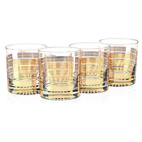 S/4 22K Gold Glasses, Striped