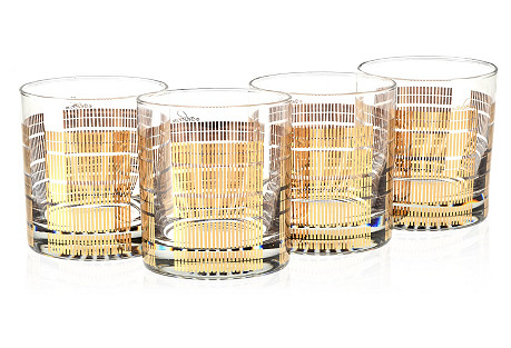 S/4 22K Gold Glasses, Striped