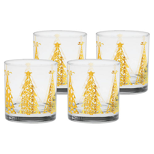 S/4 Trees Old-Fashioned Glasses, 11 Oz
