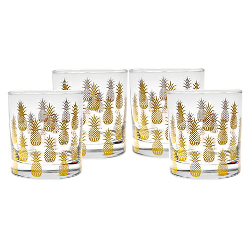 S/4 Pineapple Old-Fashioned Glasses