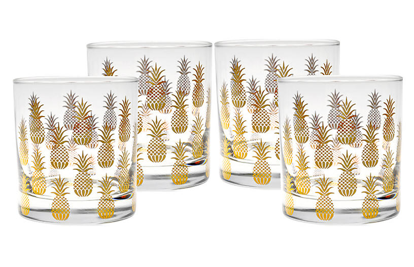 Set of 4 Pineapple Old-Fashioned Glasses