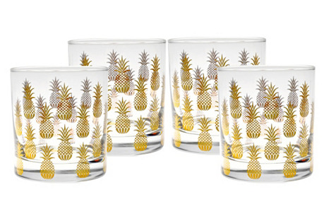 S/4 Pineapple Old-Fashioned Glasses, 11 Oz