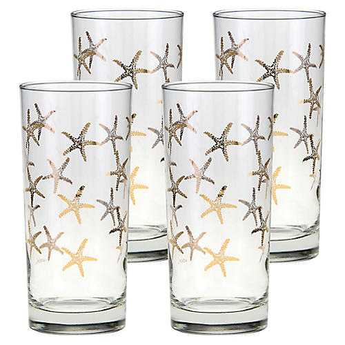 S/4 Cooler Starfish Highball Glasses, Clear/Gold
