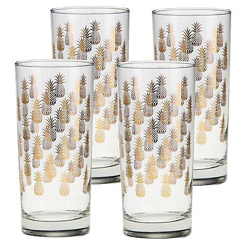 S/4 Cooler Pineapples Highball Glasses, Clear/Gold