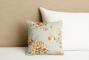 Garden Quilted Pillow, Blue