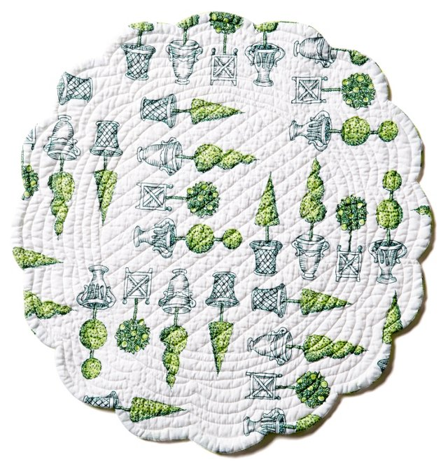 S/4 Round Topiary Place Mats, Green