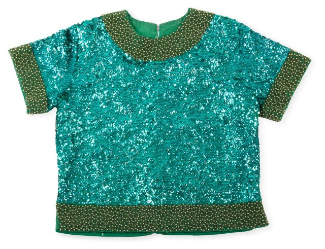 1960s Sequined Cashmere Top