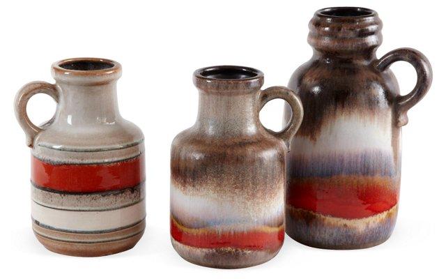 West German Pottery, Set of 3, III
