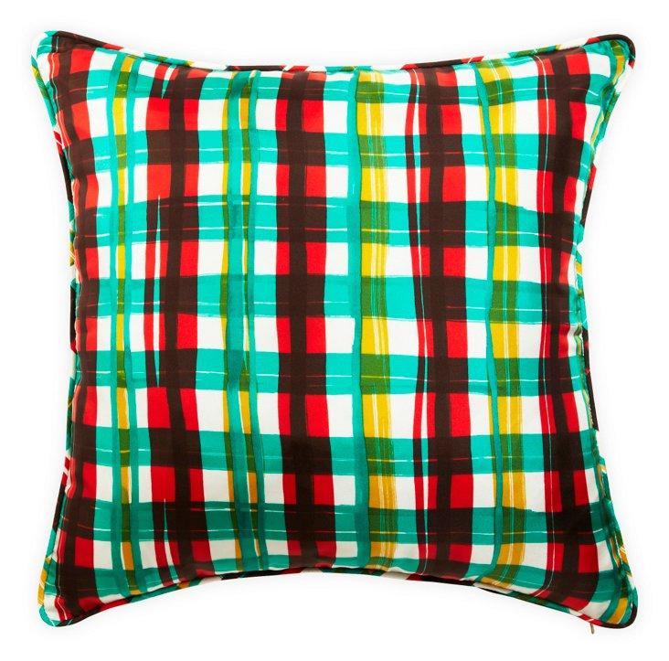 Plaid Green Multi Pillow