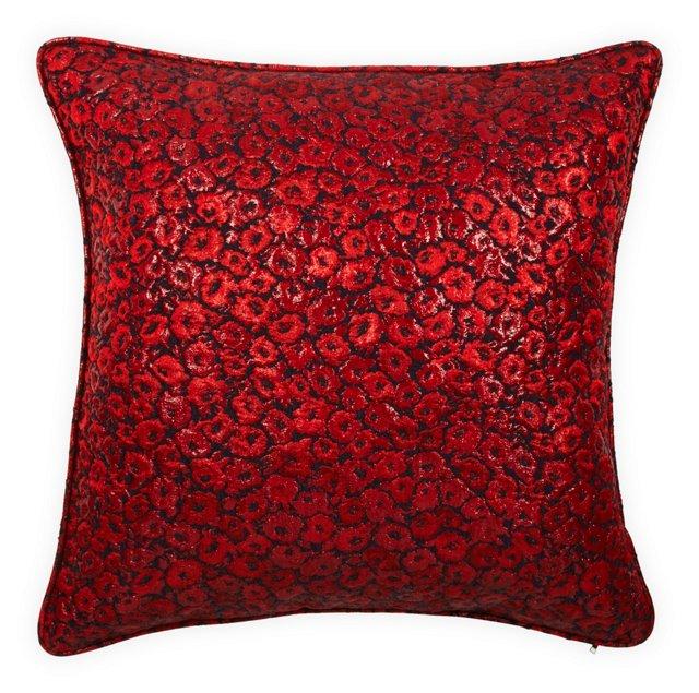 Red Rose Jacquard Pillow