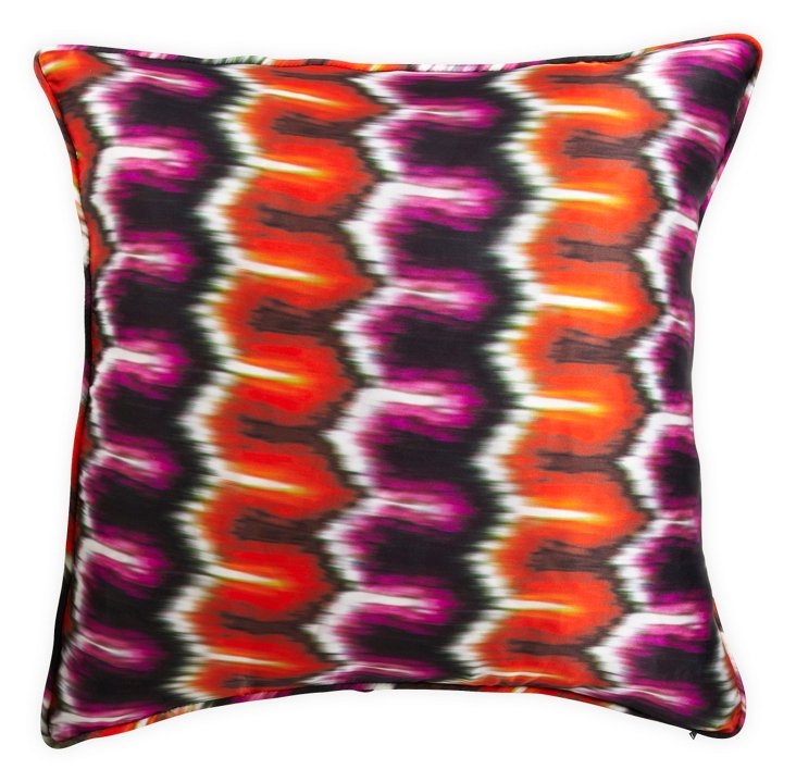 Pink & Orange Ikat-Print Pillow