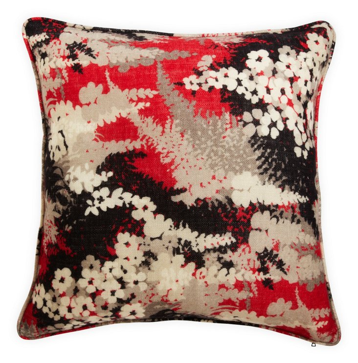 Red Fern Forest-Print Pillow