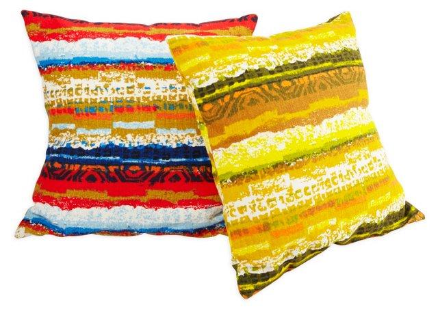 Vintage Bark-Cloth Pillows, Pair