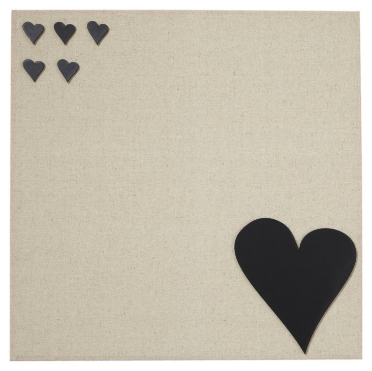 Large Fabric Magnetic Board, Heart