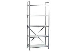 Madrid 5-Shelf Unit, Clear/Silver