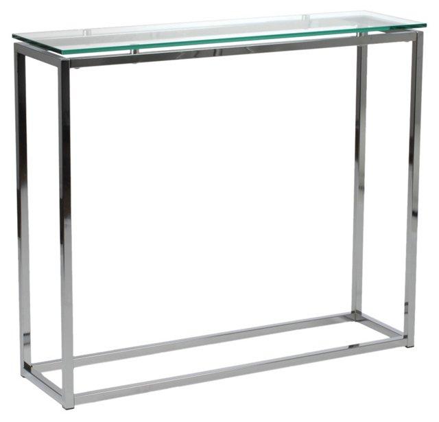 """Sandor 30"""" Console Table, Clear Glass"""