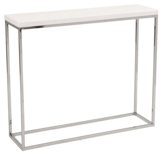 """Sandor 30"""" Console Table, White Lacquer"""