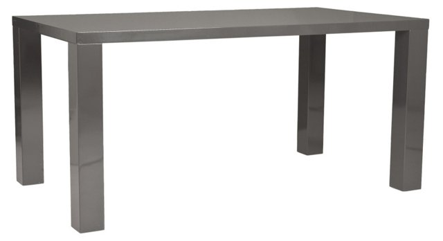 """Abby 63"""" Lacquer Dining Table, Gray"""