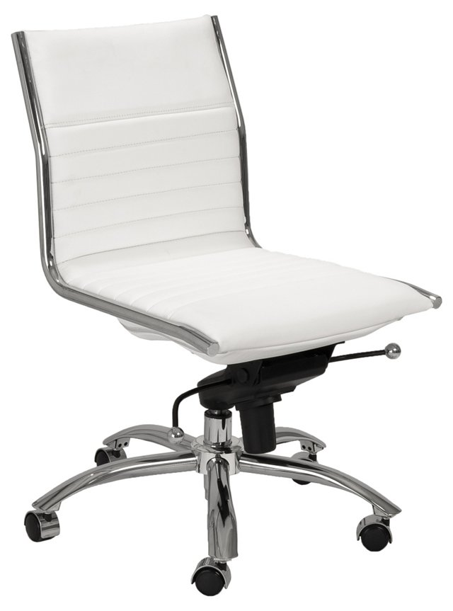 Cami Armless Low Office Chair, White