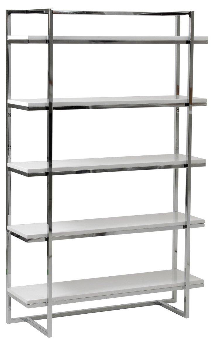 Gilbert 5-Shelf Unit, Silver/White