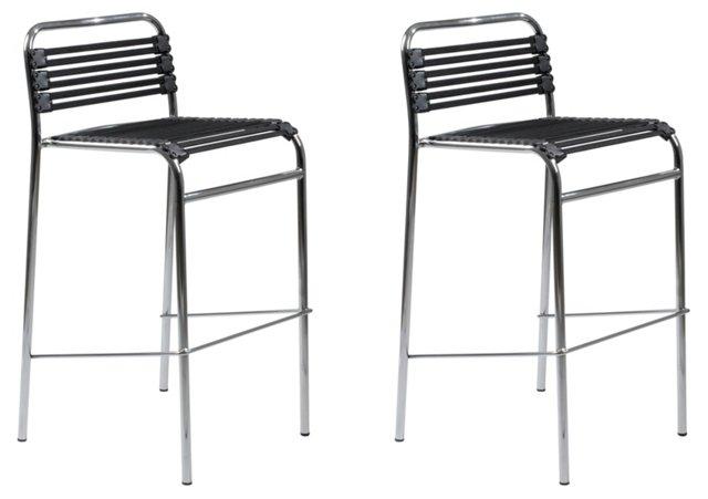 Black Bungie Barstools, Set of 4