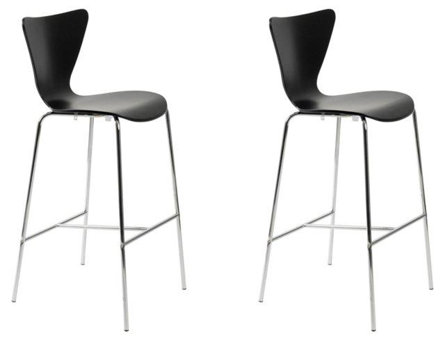 Black Prospect Bar Chairs, Pair