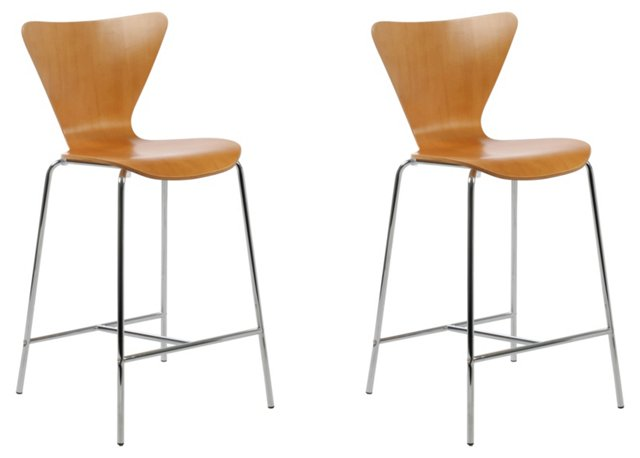 Almond Prospect Bar Chairs, Pair