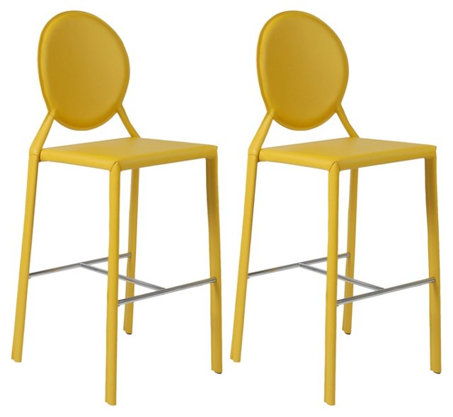 Yellow Courtney Bar Chairs, Pair