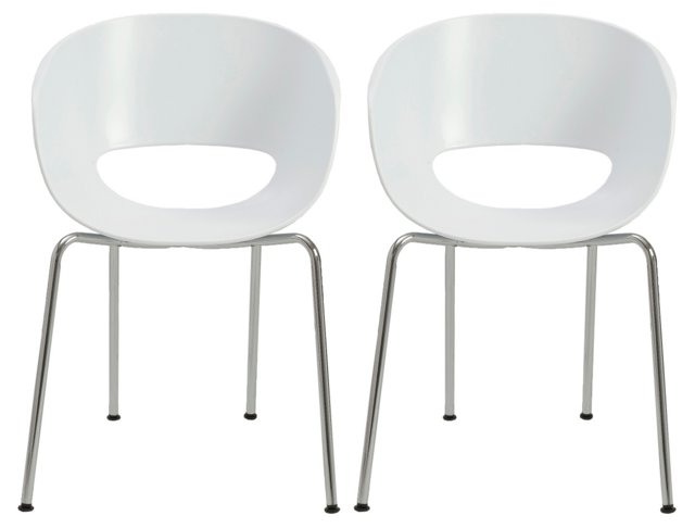 White Michele Side Chairs, Pair
