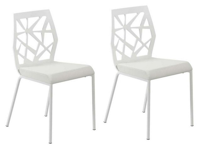 White Kast Side Chairs, Pair