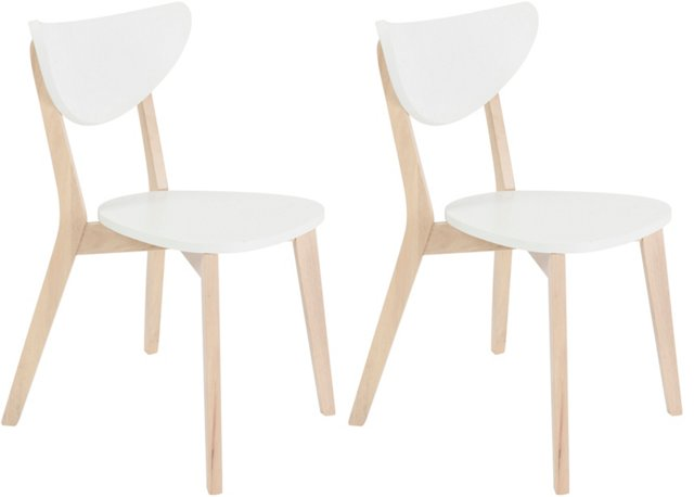 White Quigley Side Chairs, Pair