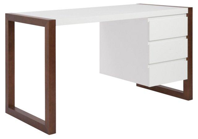 "Manon 51"" Desk, White/Walnut"