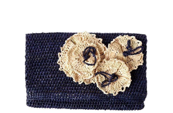 Crocheted Flower Clutch, Navy