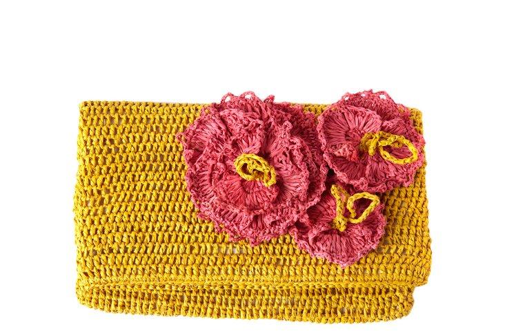 Crocheted Flower Clutch, Sunflower