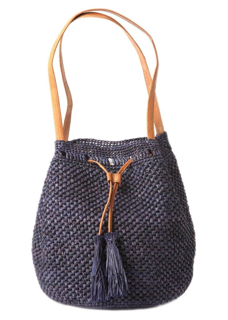 Crocheted Shoulder Bag, Navy
