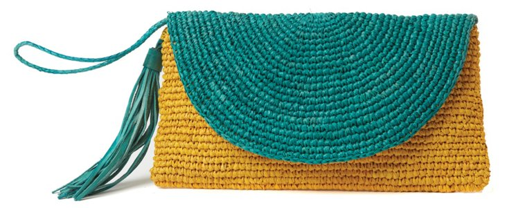 Corinne Colorblock Wristlet, Teal/Yellow
