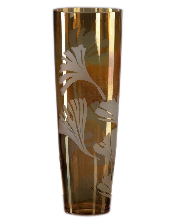 "14"" Amber Ginkgo Vase"