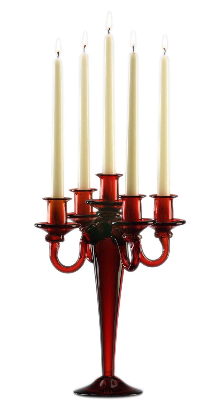 5-Light Candelabra, Red
