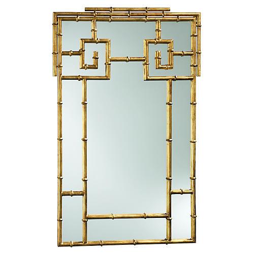 "Bamboo 23""x38"" Wall Mirror, Gold"