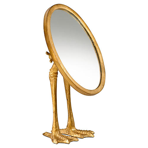 "Duck 9""x13"" Desk Mirror, Gold"