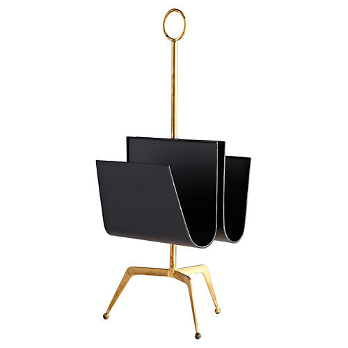 Luxe Magazine Holder, Black/Gold