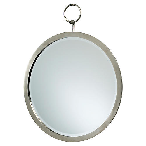 "Round 24"" Hanging Wall Mirror, Chrome"