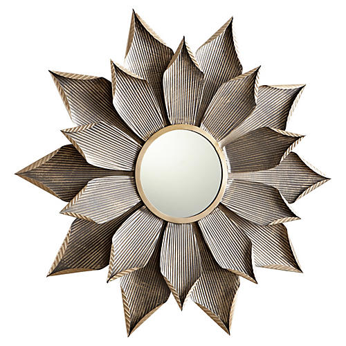Large Blossom Wall Mirror, Graphite