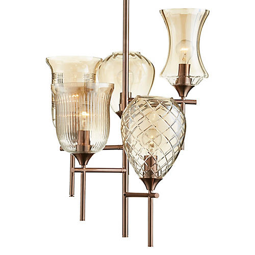 Darcey Chandelier, Satin Copper