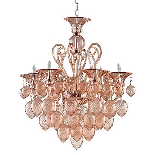 Small Bella Vetro Chandelier, Blush