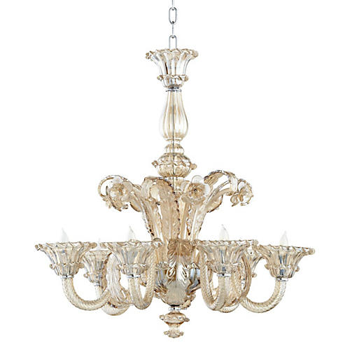 La Scala Murano Glass Chandelier, Cognac