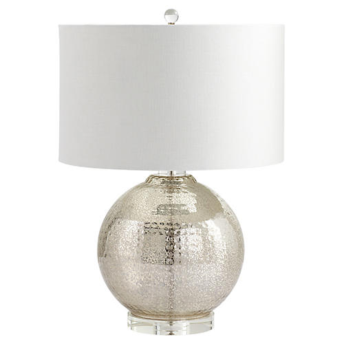 Hammered Reflections Table Lamp, Mercury