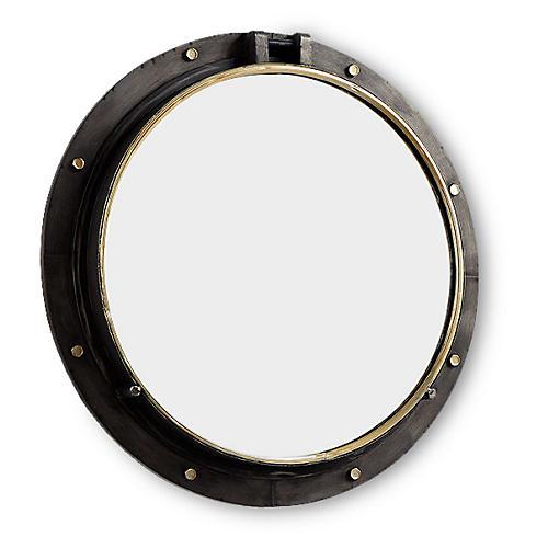 "Leon 29"" Porthole Wall Mirror, Bronze"